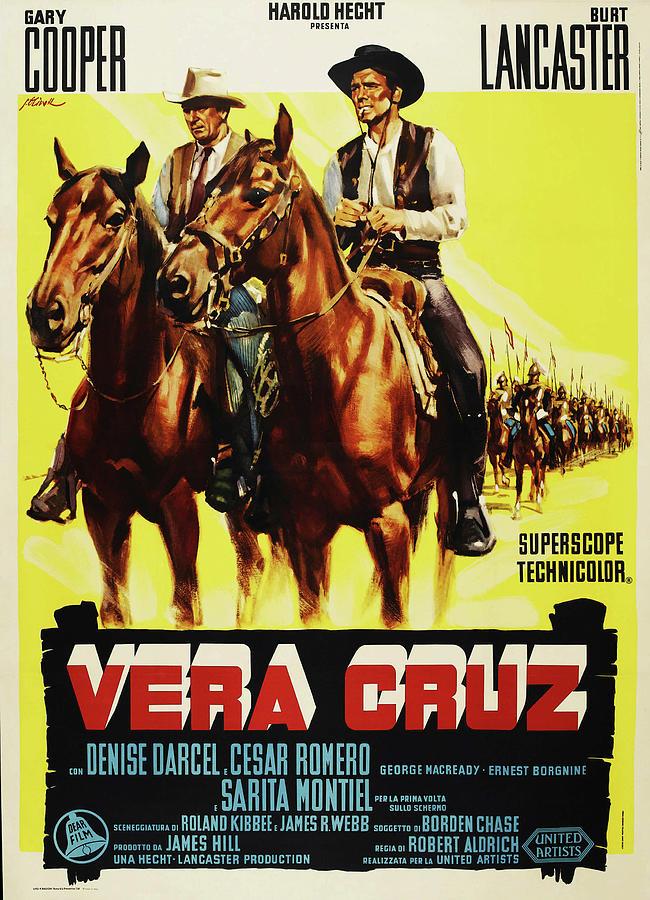 vera Cruz, With Gary Cooper And Burt Lancaster Mixed Media