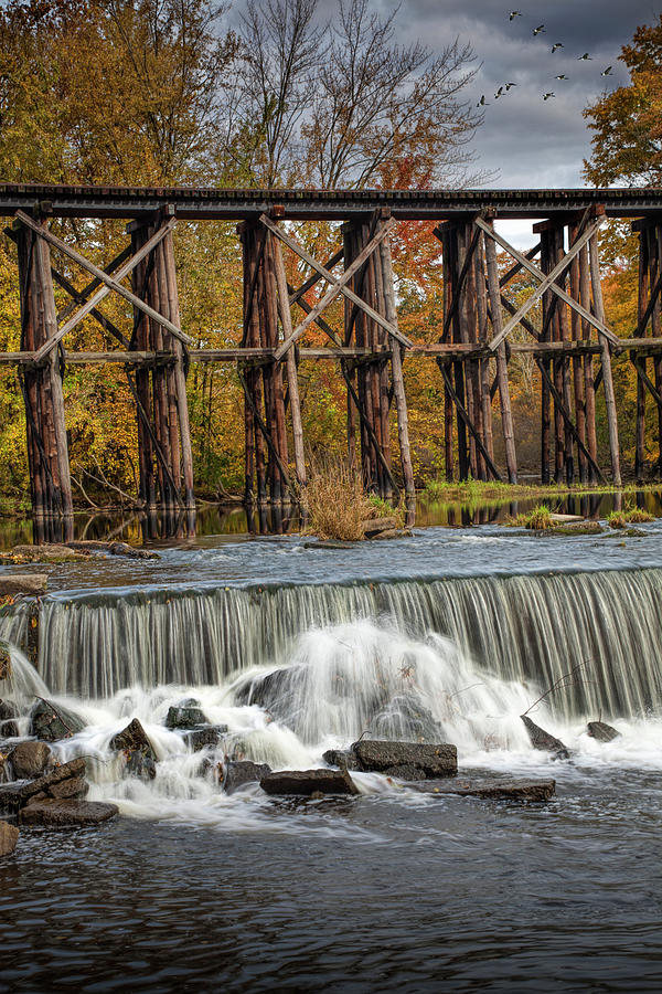 Vertical Photo of Water Falls and Old Train Trestle in Autumn by Randall Nyhof