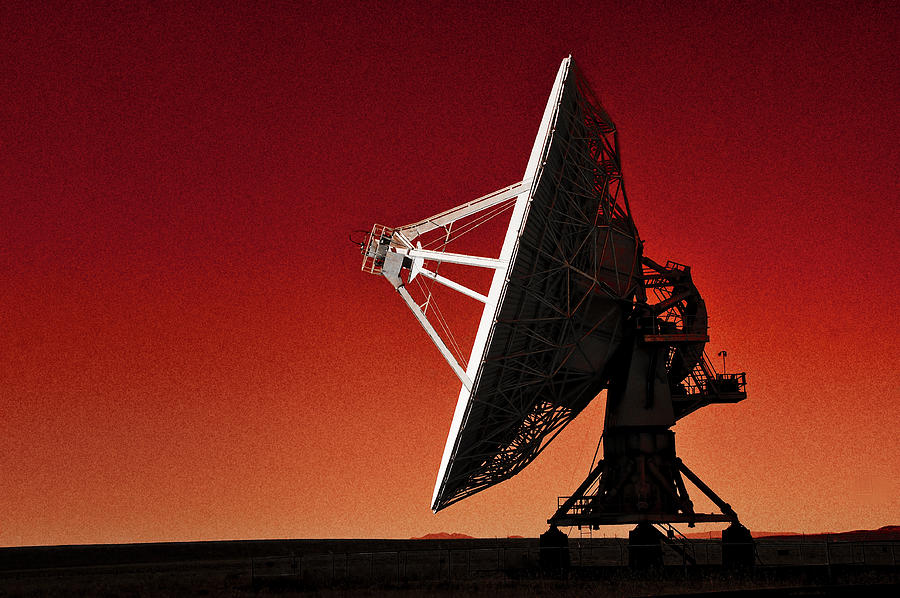 Very Large Array, Black And White, Red All Over Photograph