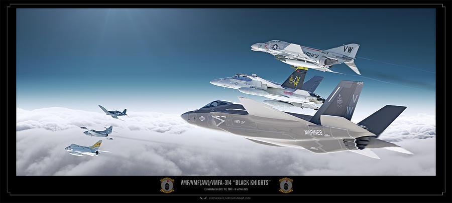 Black Knights Digital Art - VFA-314 Lineage by Mads Bangsoe