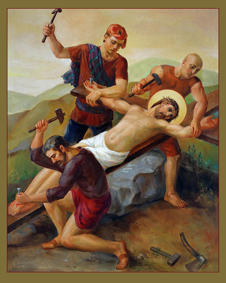 Catholic Painting - Via Dolorosa - Jesus Is Nailed To The Cross - 11 by Svitozar Nenyuk