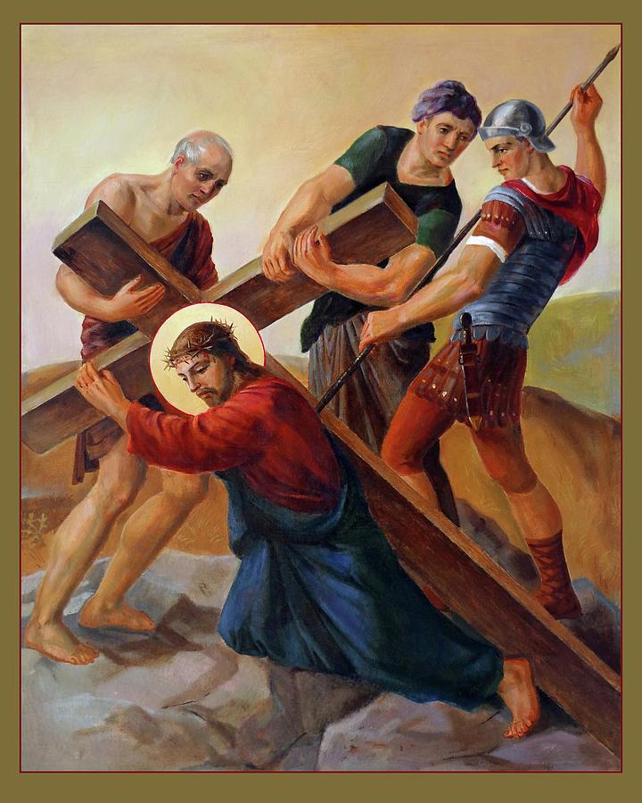 Easter Painting - Via Dolorosa - Stations Of The Cross - 3 by Svitozar Nenyuk