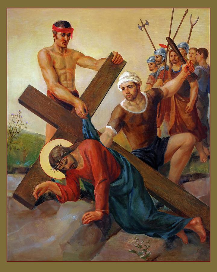 Via Dolorosa Painting - Via Dolorosa - The Second Fall Of Jesus - 7 by Svitozar Nenyuk