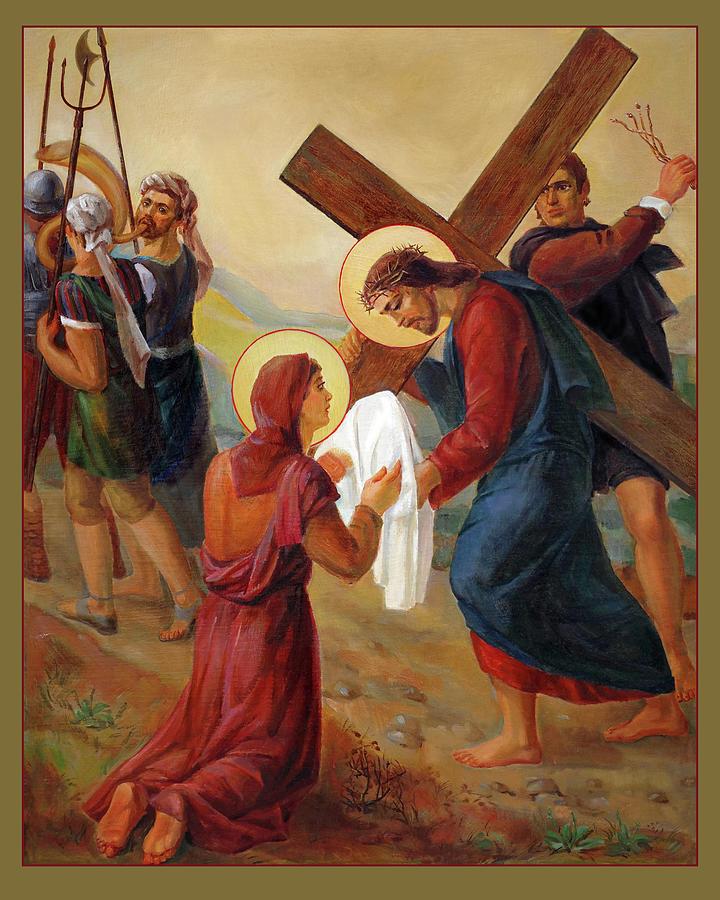Calvary Painting - Via Dolorosa - Veil Of Saint Veronica - 6 by Svitozar Nenyuk
