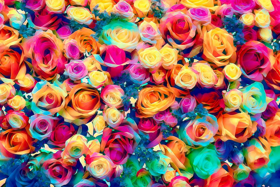 Vibrant Coloured Roses Painting