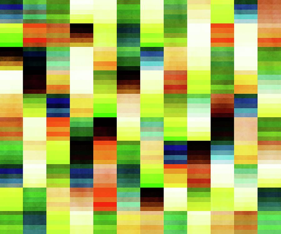 Vibrant Geometric Glitch Pattern - Chartreuse, Green Mixed Media