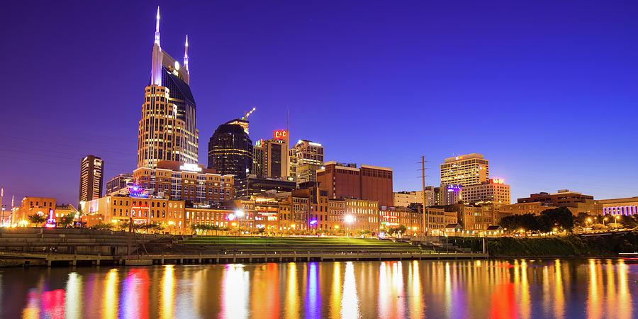 Vibrant Lights Over The Nashville Skyline - Nashville Tennessee Panorama Photograph
