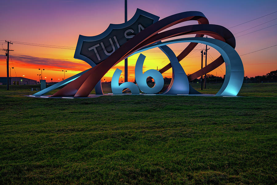 Vibrant Morning Light at Route 66 Rising - Tulsa Oklahoma by Gregory Ballos
