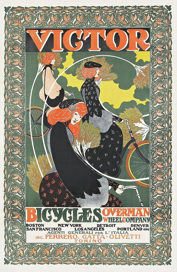 Art Nouveau Painting - Victor Bicycles Overman Wheel 1896 Poster by William Bradley