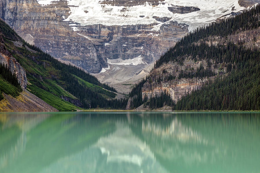 Victoria Glacier And Mountains At Lake Louise Photograph