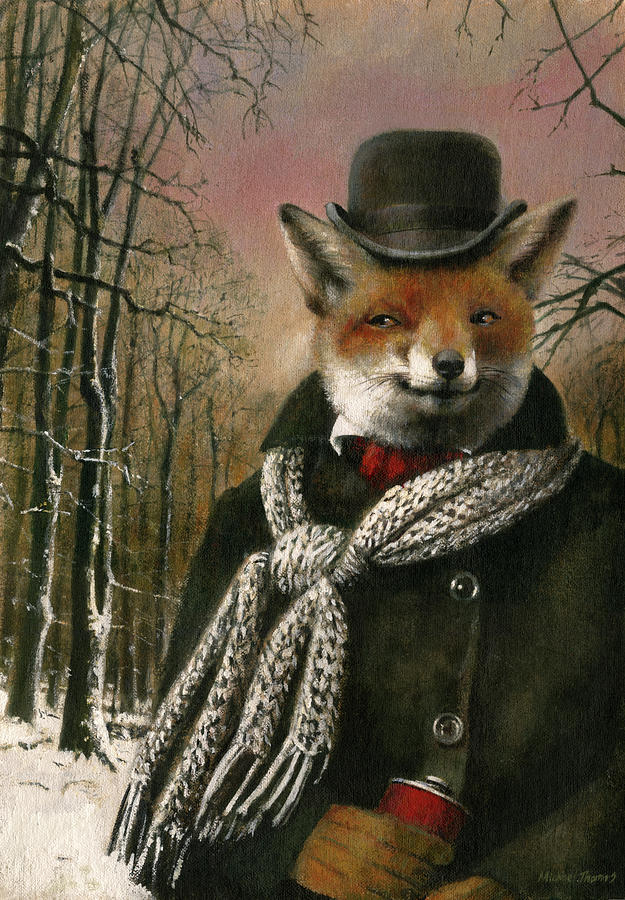 Victorian Fox In Winter Clothes Painting
