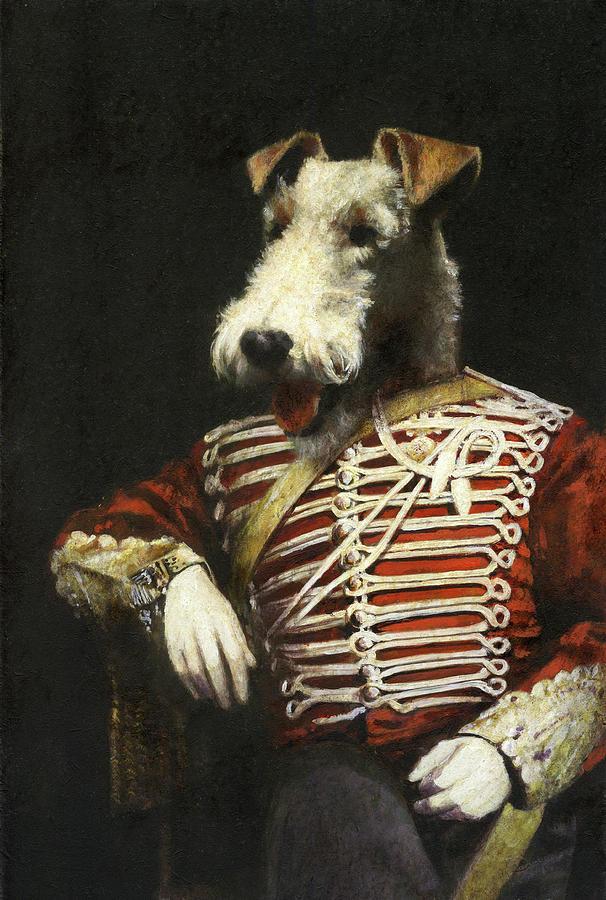 Victorian Fox Terrier Portrait Painting