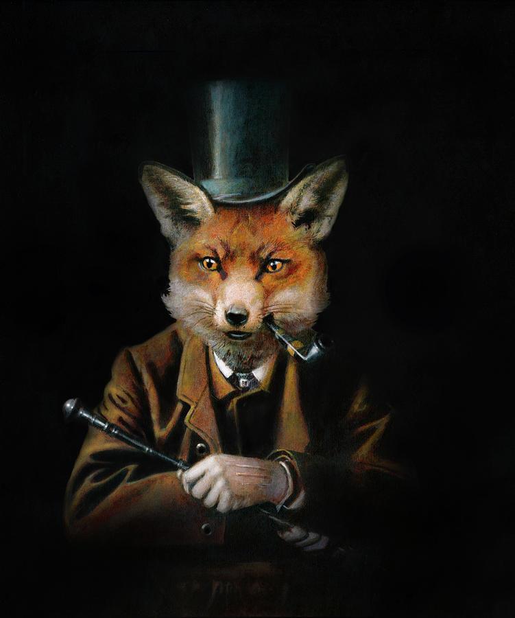 Victorian Gentleman Fox Mixed Media