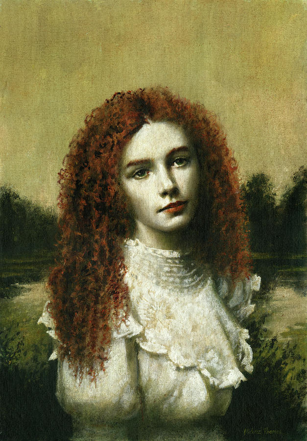 Victorian Girl In White Painting
