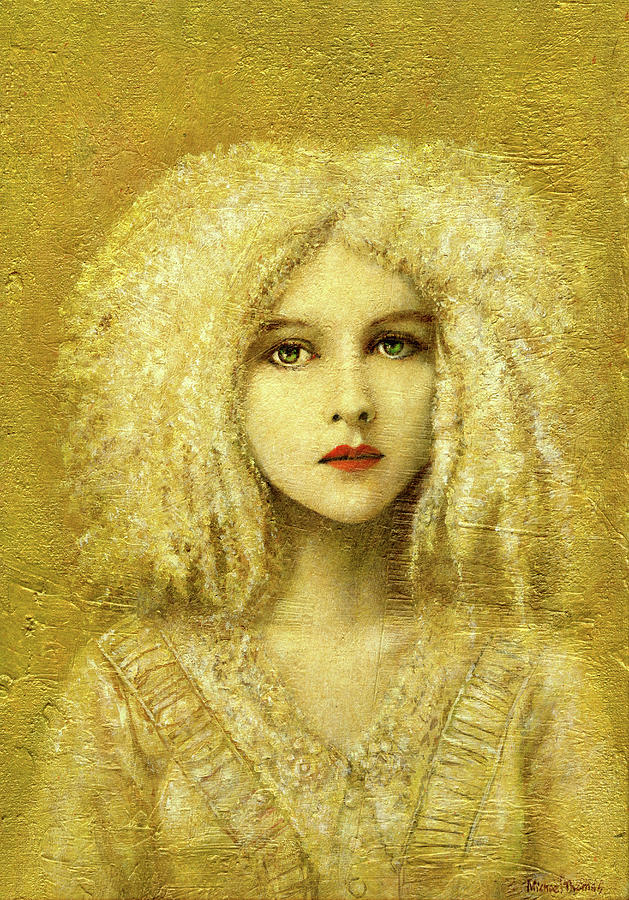 Victorian Gothic Girl On Gold Painting