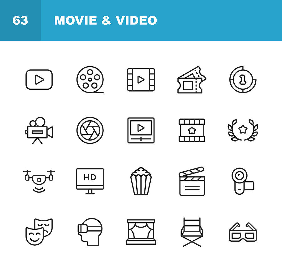 Video, Cinema, Film Line Icons. Editable Stroke. Pixel Perfect. For Mobile and Web. Contains such icons as Video Player, Film, Camera, Cinema, 3D Glasses, Virtual Reality, Theatre, Tickets, Drone, Directing, Television. Drawing by Rambo182