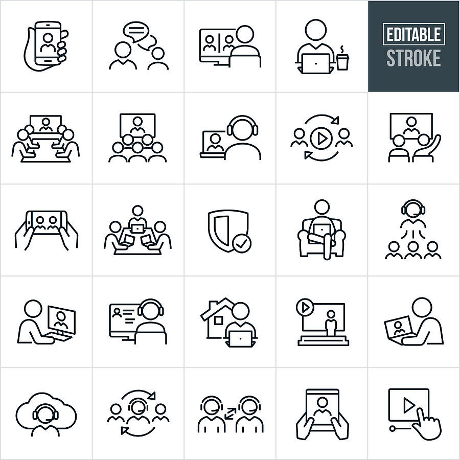 Video Conferencing Thin Line Icons - Editable Stroke Drawing by Appleuzr
