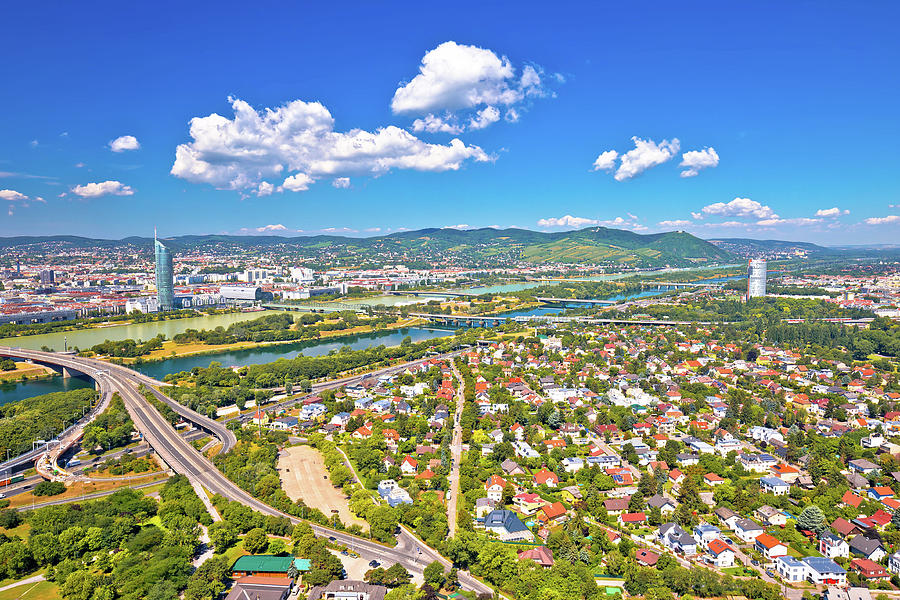 Vienna. Aerial view of northern Vienna cityscape and Danube rive by Brch Photography