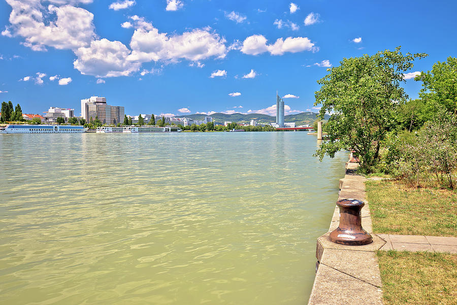 Vienna. Danube river coastline colorful view in Vienna by Brch Photography