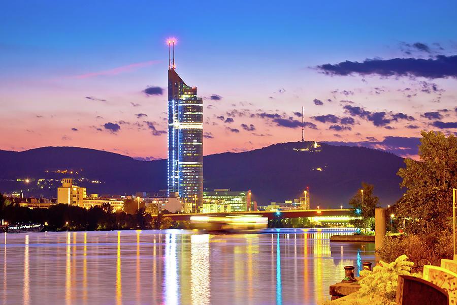 Vienna. Danube river coastline evening view by Brch Photography