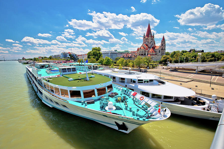 Vienna. Franz von Assisi church and river cruiser on Danube rive by Brch Photography