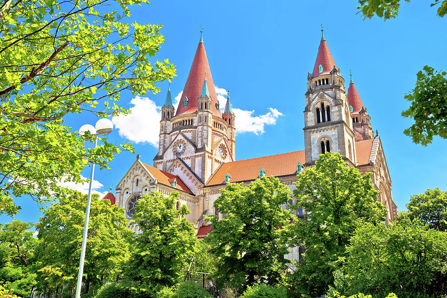 Vienna. Franz von Assisi church in green landscape of Vienna vie by Brch Photography