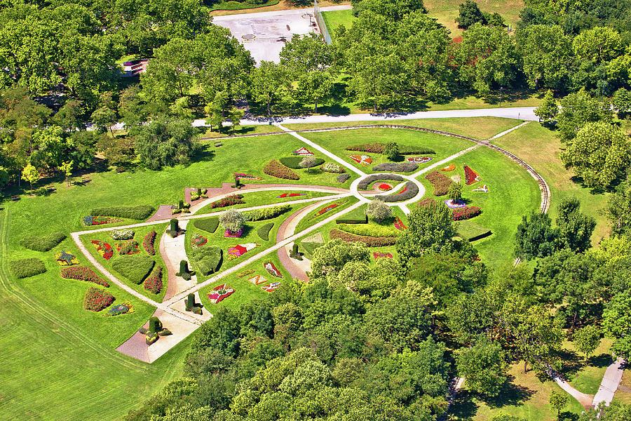 Vienna. Green flower park in Donaupark Vienna aerial view by Brch Photography