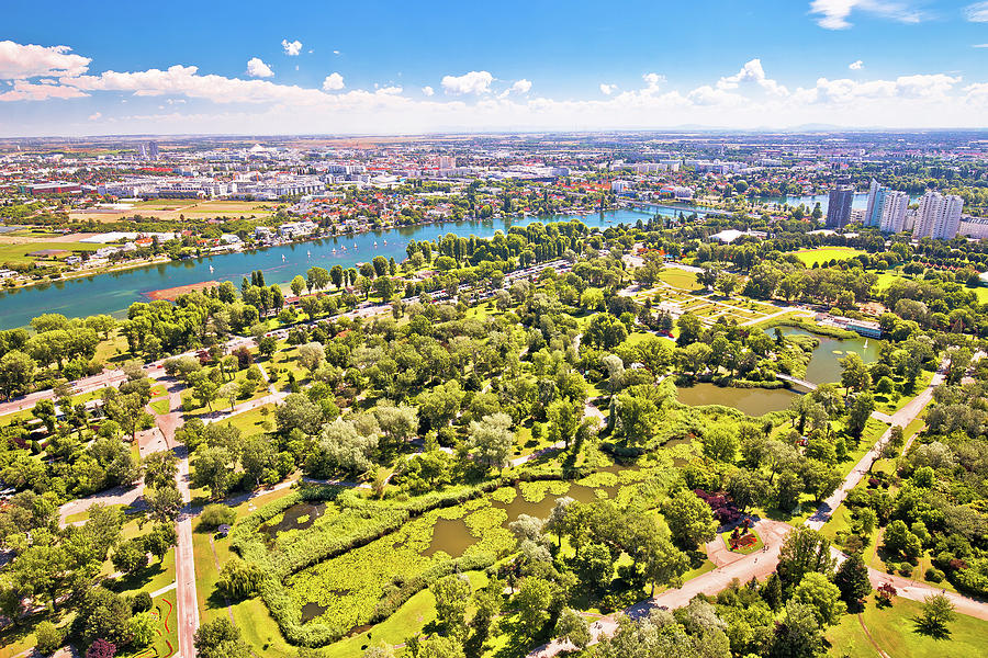 Vienna. Green landscape of Donaupark and aerial view of Vienna s by Brch Photography