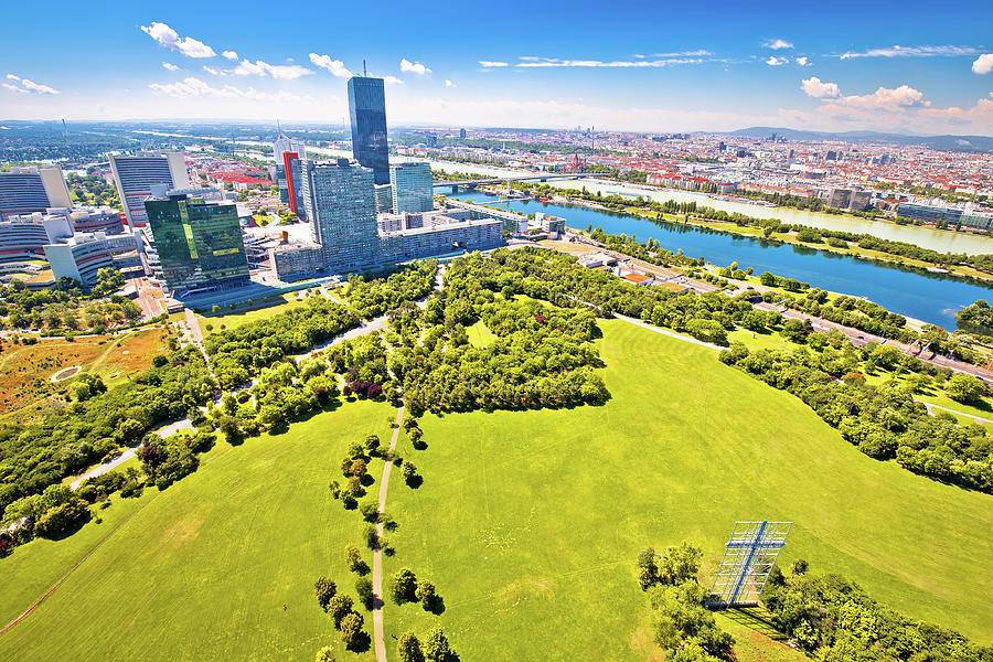 Vienna. Modern skyscrapers skyline and green landscape of Donaup by Brch Photography