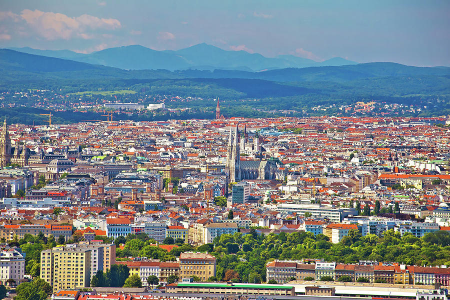 Vienna old city center aerial view by Brch Photography