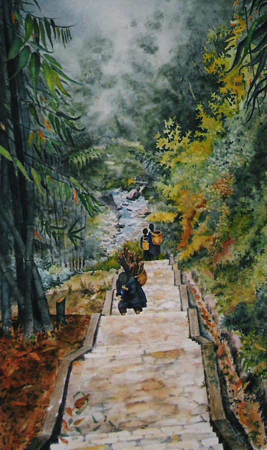 Vietnam Painting - Vietnam Scene by Mary Ellen Mueller Legault