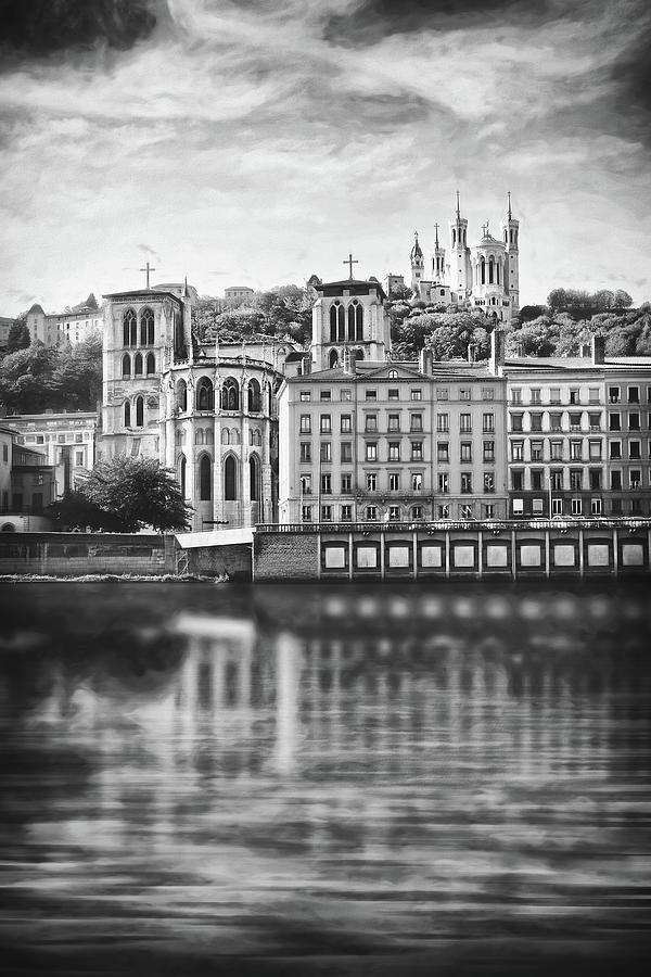 Vieux Lyon And Fourviere Lyon France Black And White Photograph