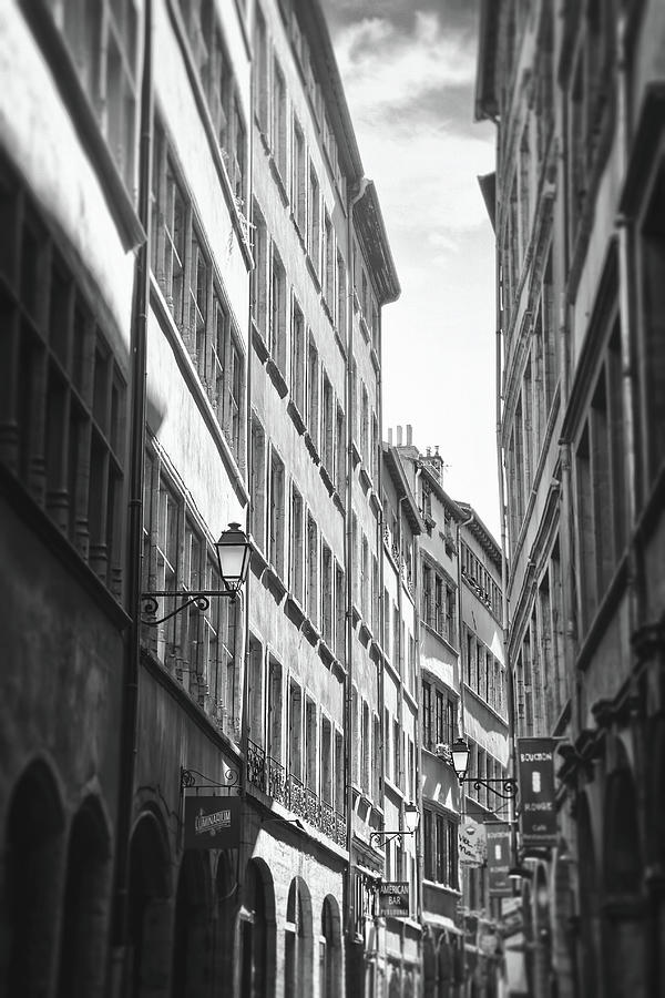Vieux Lyon France Rue De Boeuf Black And White Photograph
