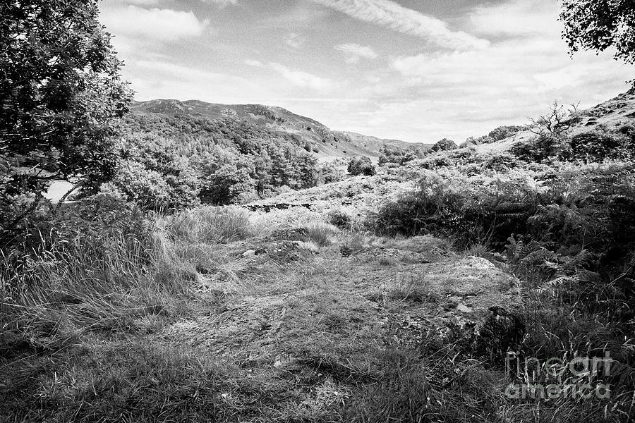 Lake District Photograph - View From Neaum Crag Hillside Towards Loughrigg Lake District National Park Cumbria England Uk by Joe Fox