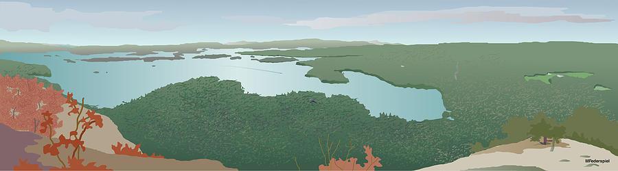 Squam Lake Digital Art - View from Rattlesnake by Marian Federspiel