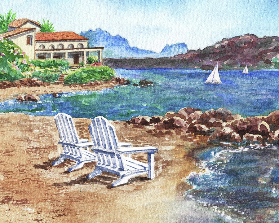 View Just For Two Paradise With Two Beach Chairs And Sailboats Painting