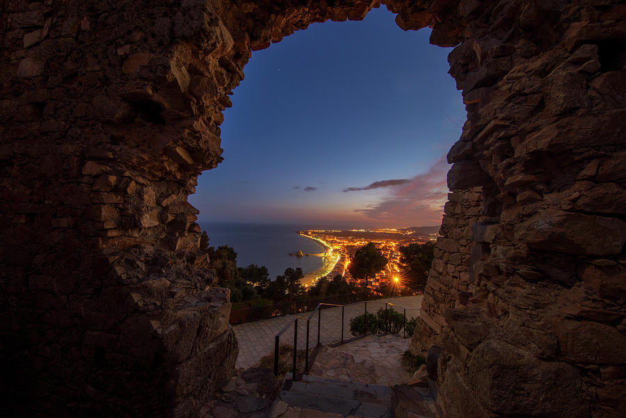 Blanes Photograph - View Of Blanes At Night From The Castle by Vicen Photography