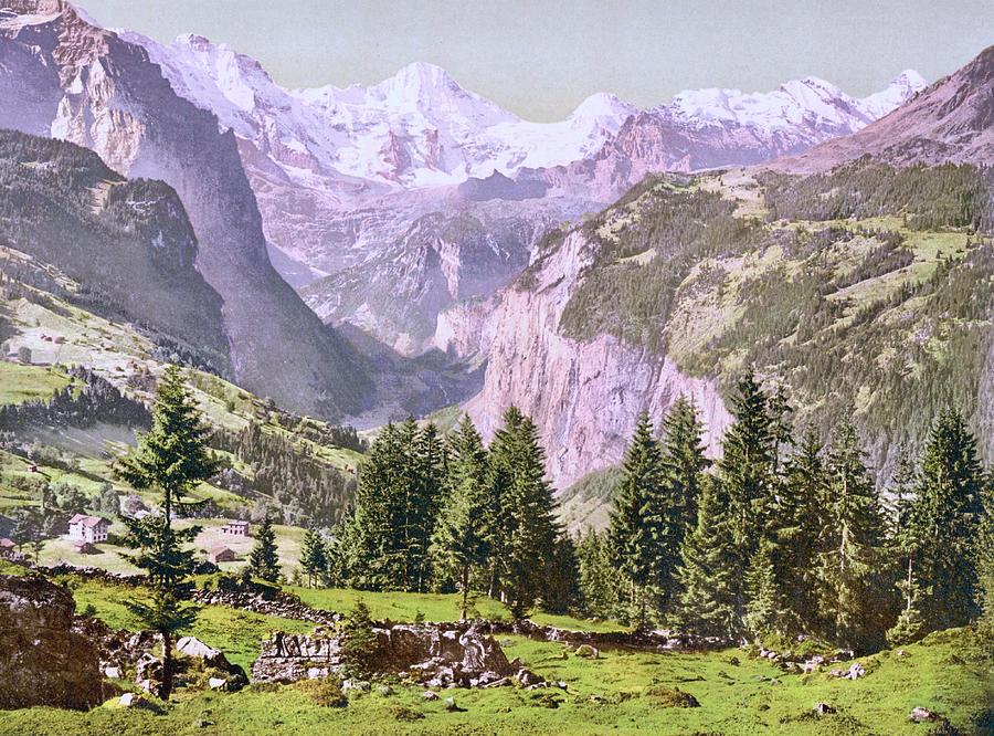 View Of Breithorn From Wengen, Bernese Oberland, Bern, Switzerland 1890. Photograph