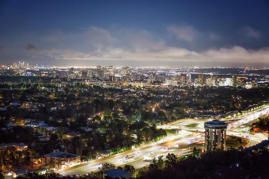 View Of Los Angeles From The Getty Museum At Dusk Photograph