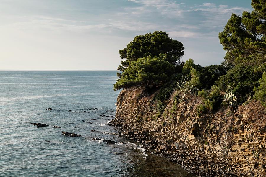 View Of The Mediterranean Sea, A Promontory In Licosa Area, Salerno, Campania. Tyrrhenian Coast. Photograph