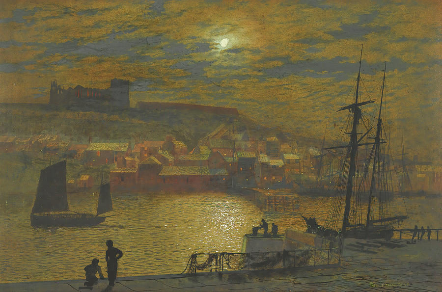 View Of Whitby From Scotch Head, Moonlight On The Esk Painting