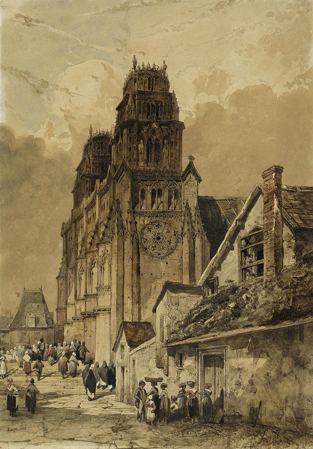 View Taken in Rouen, 1832 by Adrien Dauzats