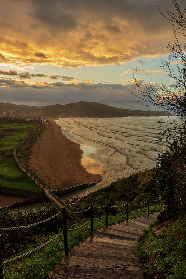 Viewpoint and stairs to Zarautz beach at sunset by Vicen Photography