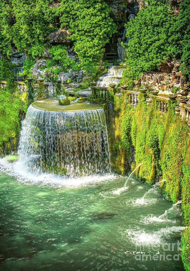Villa D Este gardens in Tivoli - Oval Fountain or Fontana del Ov by Luca Lorenzelli