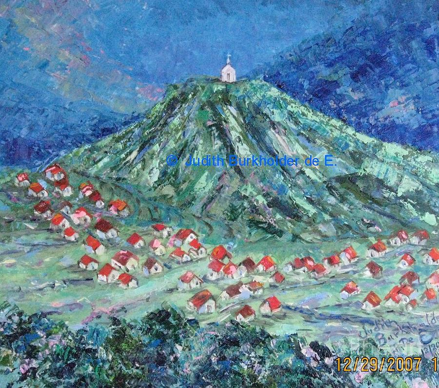 Landscape Painting - Village Church - SOLD by Judith Espinoza