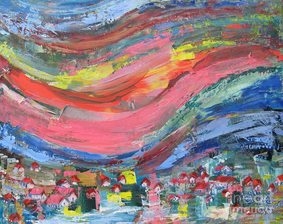 Abstract Landscape Painting - Village Nestled in the Mountain - SOLD by Judith Espinoza