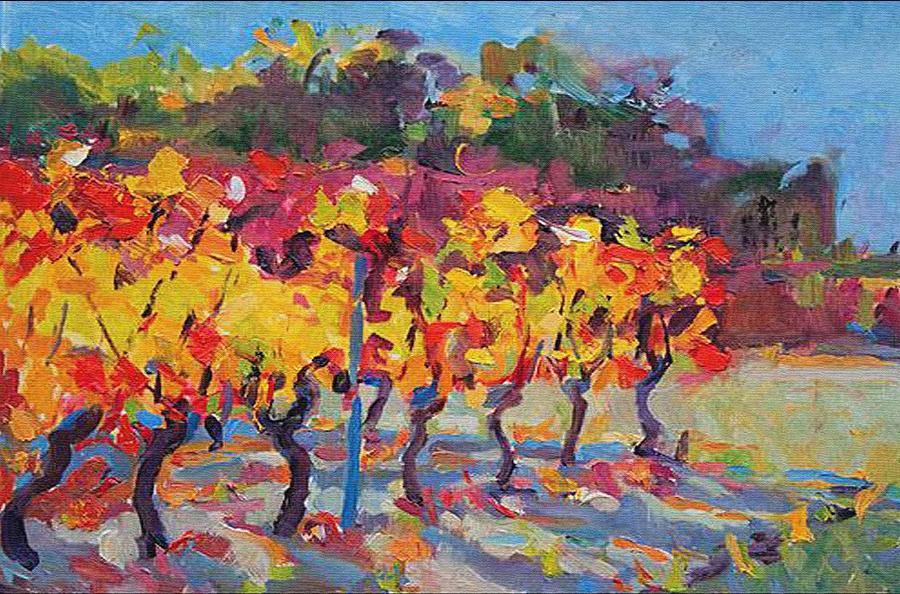 Vineyard In Fall Digital Art
