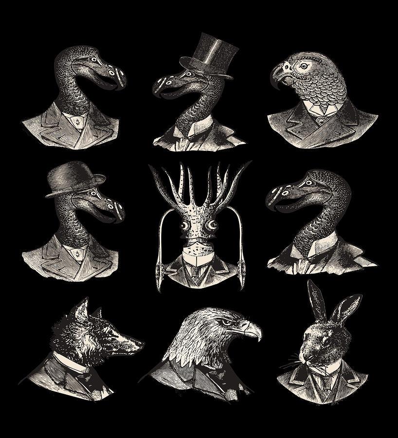 Vintage Animal Portraits Digital Art By Mehdi Bellamine