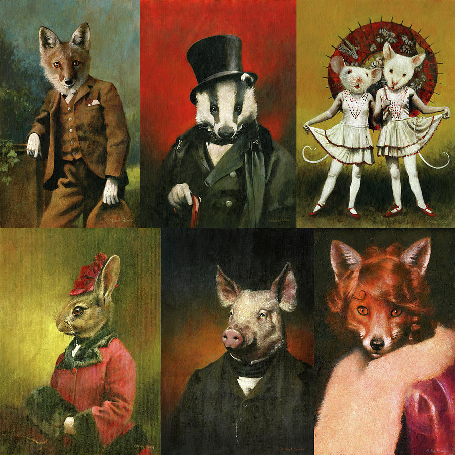 Vintage Animals In Clothes Painting