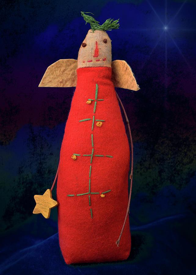 Christmas Angel, Vintage Antique Primitive Handmade Doll With Star Sculpture